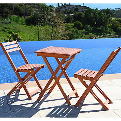 Vifah Premium All Weather 3-Piece Bistro Set in Natural Wood