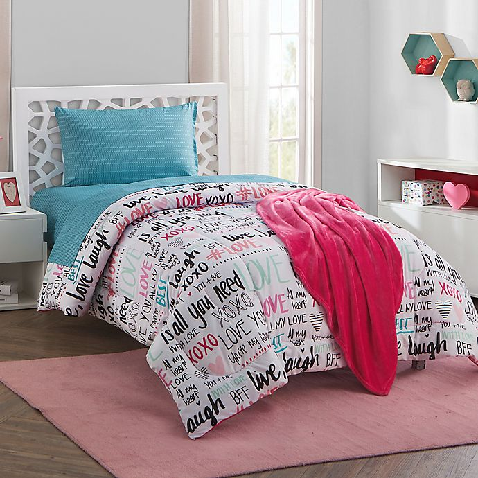 Scribble 16 Piece Reversible Twin Twin Xl Comforter Set In Fuchsia