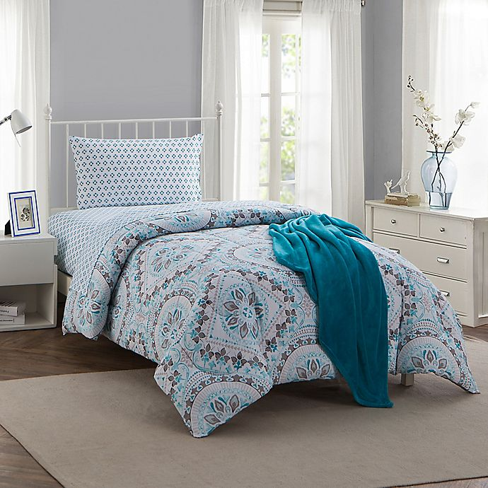 Montoya 16 Piece Twin Twin Xl Comforter Set In Teal Bed Bath Beyond