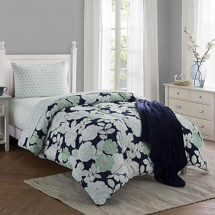 Lacey 16 Piece Twin Twin Xl Comforter Set In Navy Bed Bath Beyond