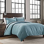 Garment Washed Solid Full/Queen Comforter Set in Teal