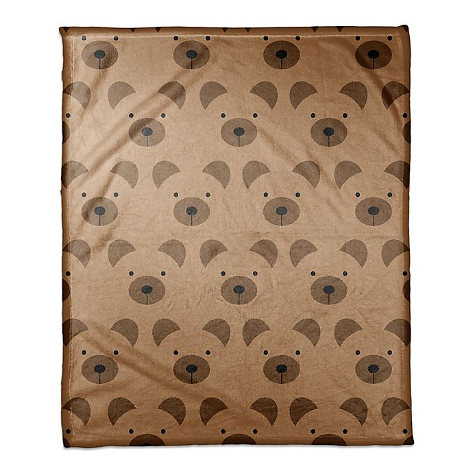 Alternate image 1 for Designs Direct Bear Face Friend Throw Blanket in Brown