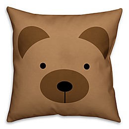 Designs Direct Bear Face Friend 16-Inch Square Throw Pillow in Brown