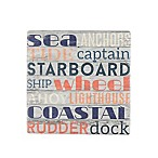 Thirstystone® Occasions Wood Panel Nautical Type Square Coaster