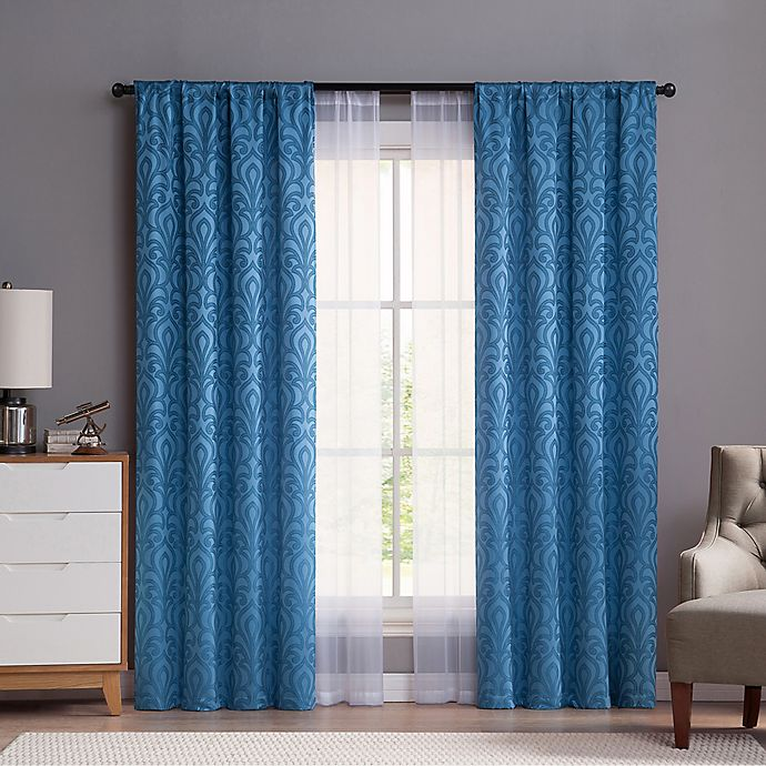 Alternate image 1 for VCNY Villa 84-Inch Rod Pocket Window Curtain Panels in Blue (Set of 4)