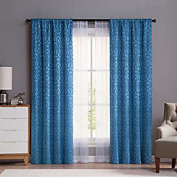 VCNY Villa 84-Inch Rod Pocket Window Curtain Panels in Blue (Set of 4)