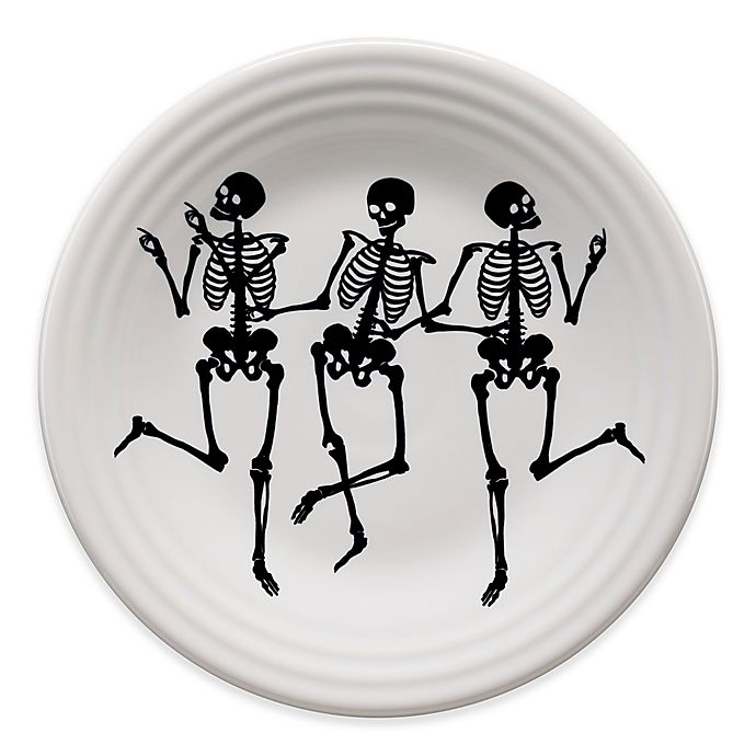 Alternate image 1 for Fiesta® Halloween Trio of Skeletons Luncheon Plate in White