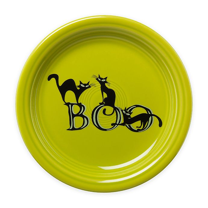 Alternate image 1 for Fiesta® Halloween Trio of Boo Cats Appetizer Plate in Green