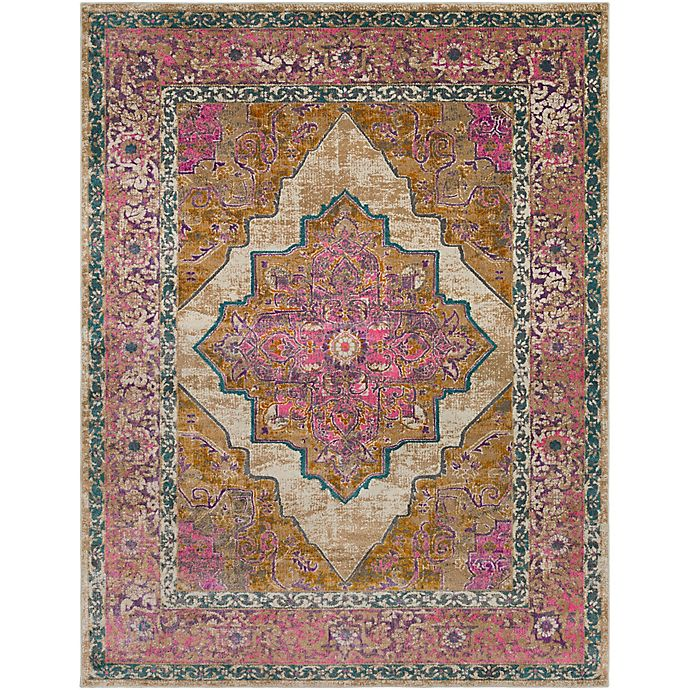 Alternate image 1 for Surya Milamma Floral Border Medallion 7-Foot 10-Inch x 10-Foot 3-Inch Area Rug in Camel