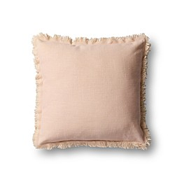 Magnolia Home by Joanna Gaines Lillian Square Throw Pillow in Pink/Beige