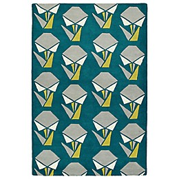 Kaleen Origami Collage Rug in Teal
