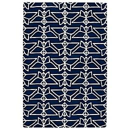 Kaleen Origami Wings Rug in Navy