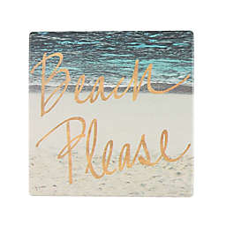 Thirstystone® Occasions Beach Please with Gold Square Coaster