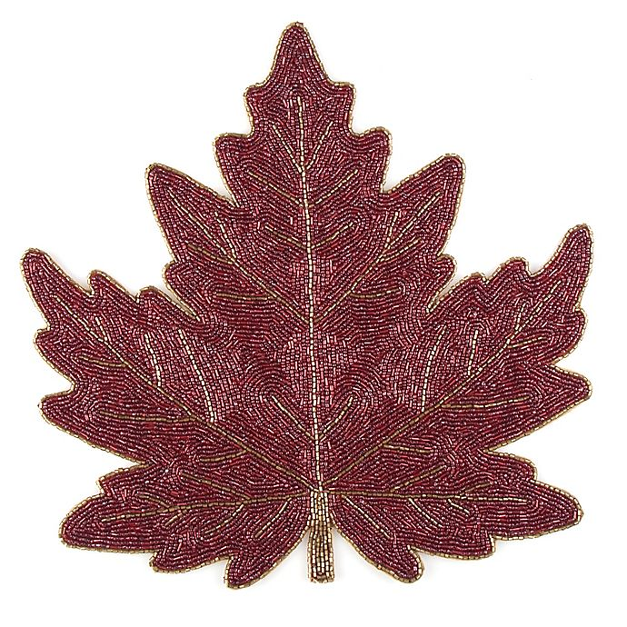 Beaded Leaf Placemat In Rust Red Bed Bath And Beyond Canada