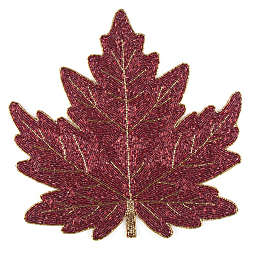 Beaded Leaf Placemat in Rust Red