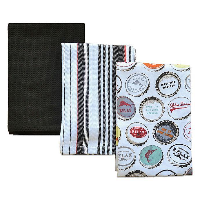 Tommy Bahama Bathroom Towels: Tommy Bahama® Bottle Caps Kitchen Towels (Set Of 3)