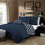 Avondale Manor Griffin Reversible Queen Quilt Set in Navy