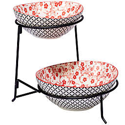 Certified International Chelsea Mix and Match Floral Lattice 2-Tier Server