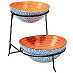 Certified International Chelsea Mix and Match Aqua Swirl 2-Tier Server