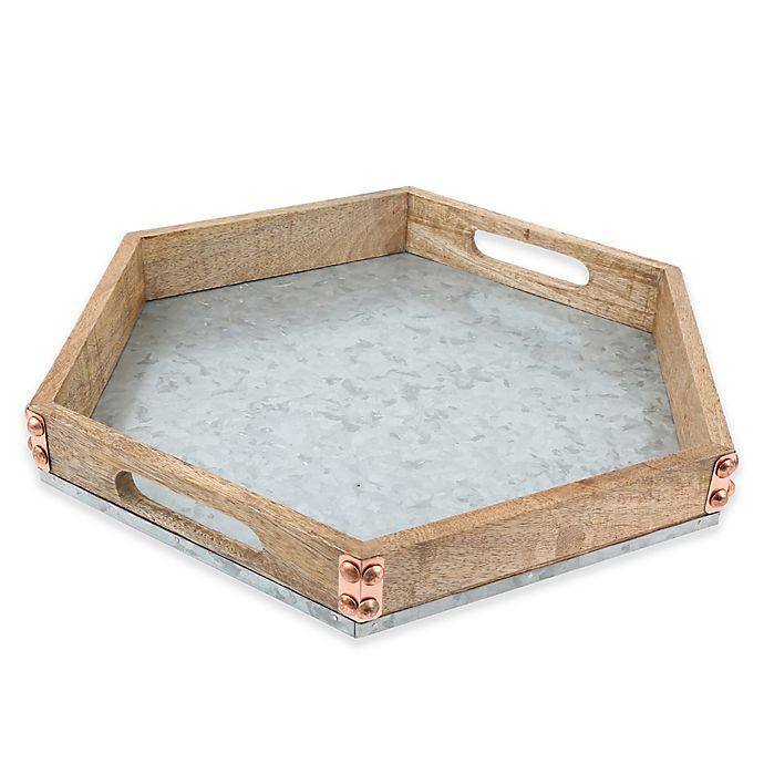 Alternate image 1 for Thirstystone® Mango Wood and Galvanized Iron Hexagon Tray