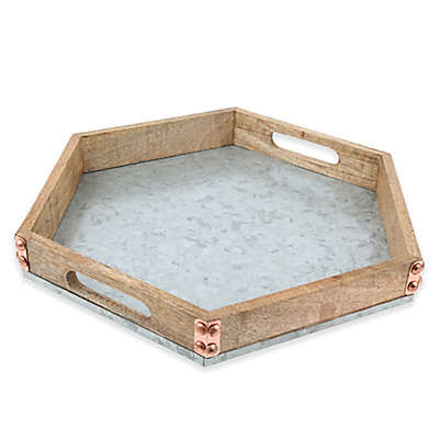 Thirstystone® Mango Wood and Galvanized Iron Hexagon Tray