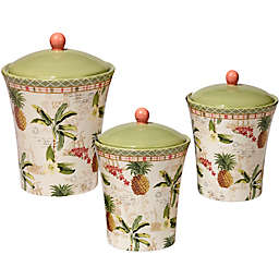 Certified International Floridian 3-Piece Canister Set in Coral