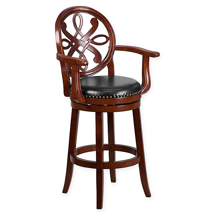 Alternate image 1 for Flash Furniture 30-Inch Wood Bar Stool with Arms in Black/Cherry