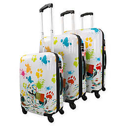 Chariot 3-Piece Hardside Spinner Luggage Set in Paint Puppy