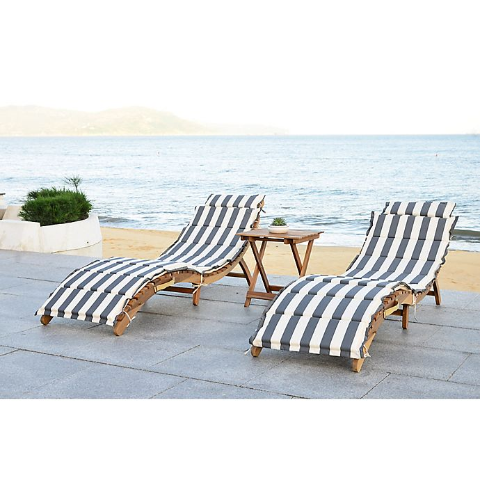 Safavieh Pacifica 3 Piece Outdoor Lounge Set In Teak Brown