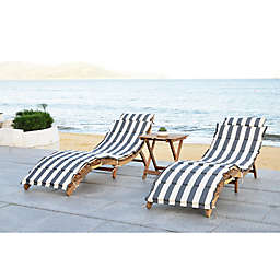 Safavieh Pacifica 3-Piece Outdoor Lounge Set in Teak Brown/Grey