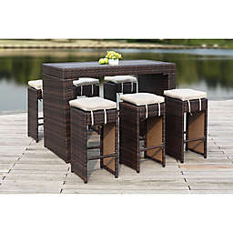 Safavieh Sanders 7-Piece All-Weather Rattan Outdoor Bar Set