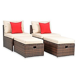 Safavieh Telford Rattan Outdoor Settee and Storage Ottoman in Brown (Set of 2)