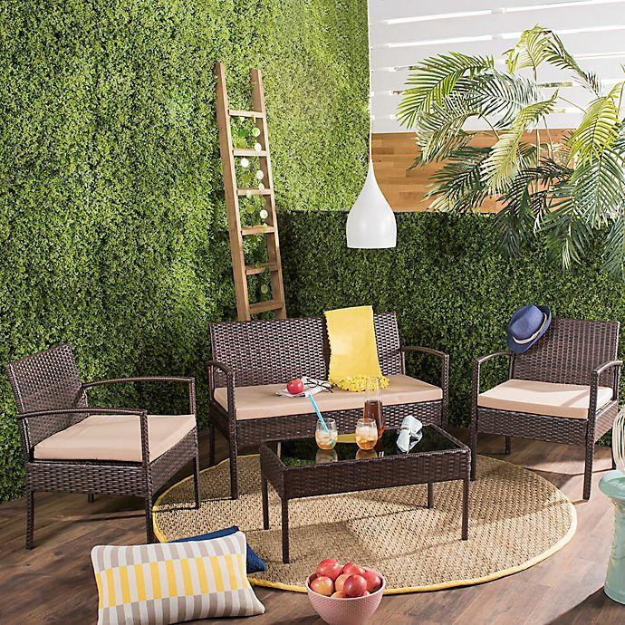 Alternate image 1 for Safavieh Mattia 4-Piece Outdoor Furniture Set in Brown