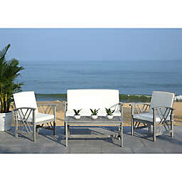 Safavieh Fontana 4-Piece Patio Furniture Set in Grey Wash/Beige