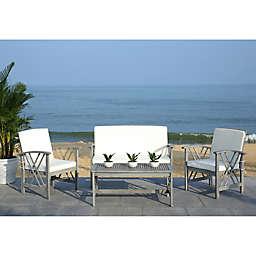 Safavieh Fontana 4-Piece Patio Furniture Set in Grey Wash/Beige
