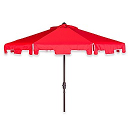 Safavieh Zimmerman 9-Foot Crank Patio Umbrella in Red/White