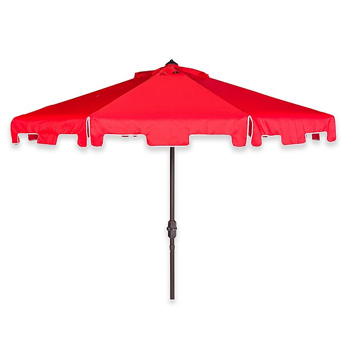Alternate image 1 for Safavieh Zimmerman 9-Foot Crank Patio Umbrella in Red/White