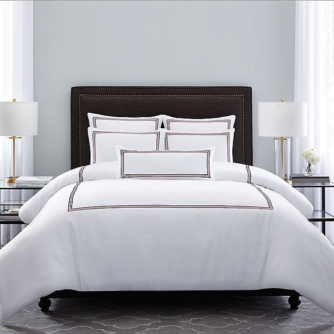 Alternate image 1 for Wamsutta® Hotel Triple Baratta Stitch Full/Queen Comforter Set in Red