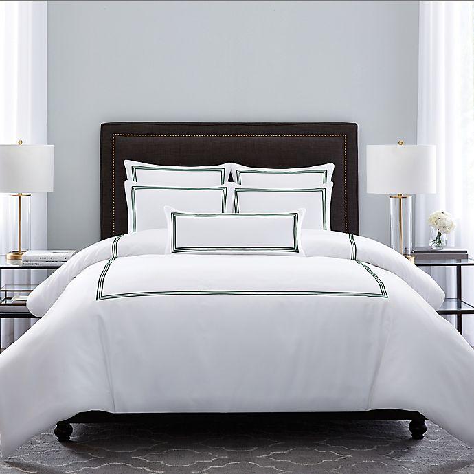 Alternate image 1 for Wamsutta® Hotel Triple Baratta Stitch King Comforter Set in Forest