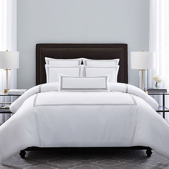 Alternate image 1 for Wamsutta® Hotel Triple Baratta Stitch King Comforter Set in Silver