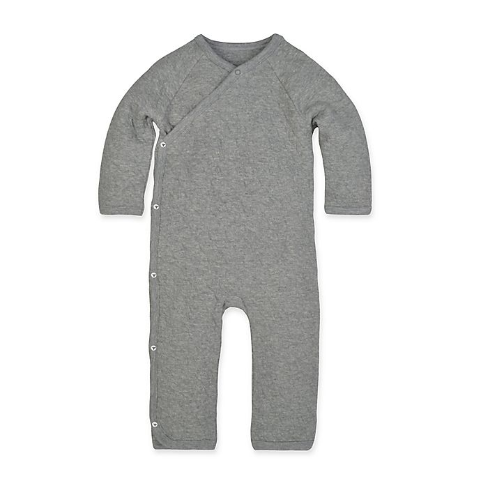 Alternate image 1 for Burt's Bees Baby® Size 3M Quilted Kimono Coverall in Grey