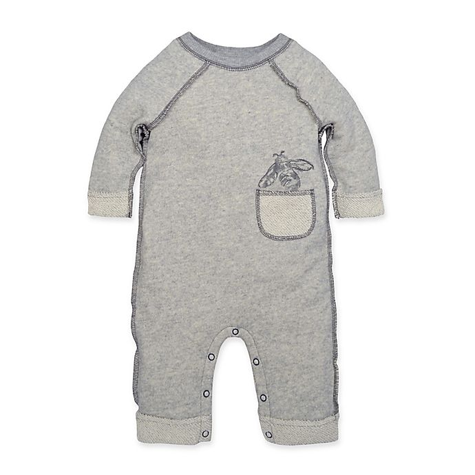 Alternate image 1 for Burt's Bees Baby® Roll Cuff Coverall in Grey