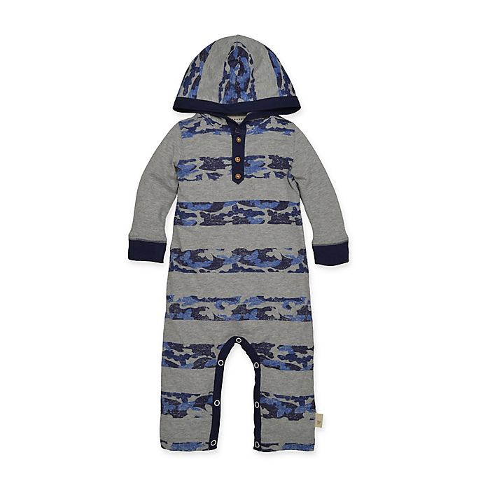 Alternate image 1 for Burt's Bee's Baby® Camo Stripe Hooded Coverall in Navy