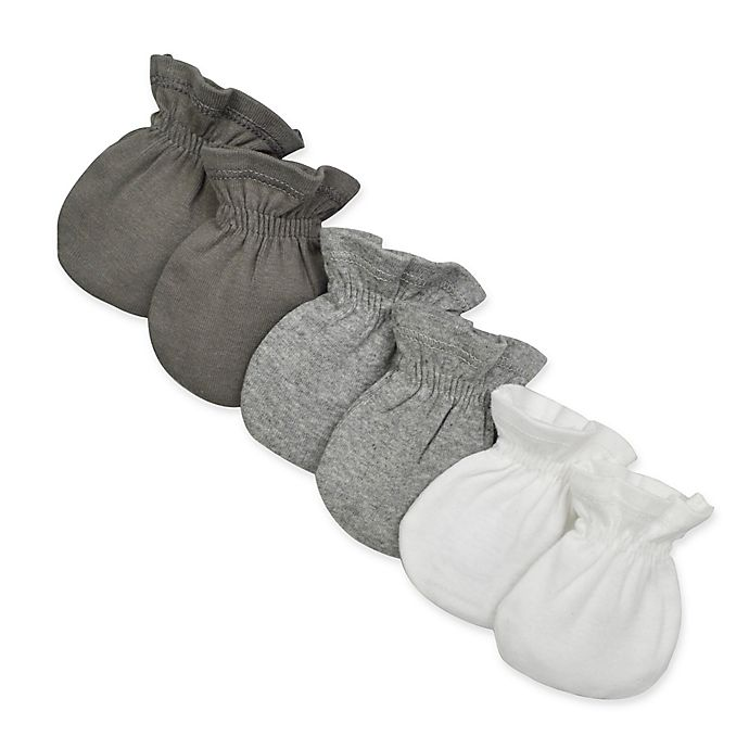 Alternate image 1 for Burt's Bees Baby® 3-Pack Mitts in White/Grey