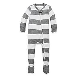 Burt's Bees Baby® Rugby Stripe Footie in Grey/White
