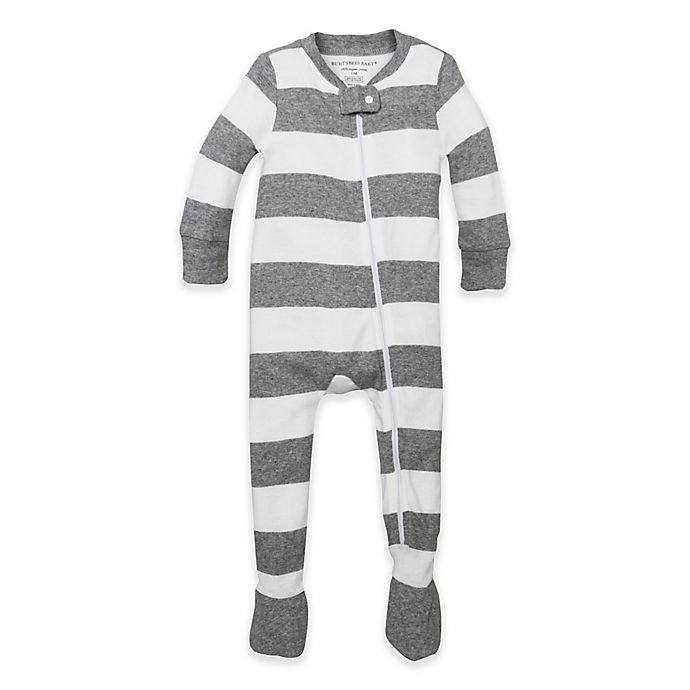 Alternate image 1 for Burt's Bees Baby® Size 6-9M Rugby Stripe Footie in Grey/White