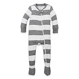 Burt's Bees Baby® Rugby Stripe Footie in Grey/White
