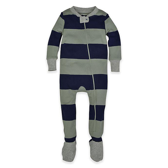 315d2d364 Burt's Bees Baby® Rugby Stripe Footie Pajama in Navy/Green | Bed ...