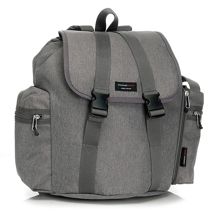 Alternate image 1 for Storksak Backpack Diaper Bag in Grey