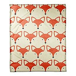 Designs Direct Fox Face Friend Throw Blanket in Orange